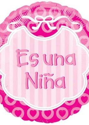***Es Una Nina Spanish Baby Girl Mylar Balloon