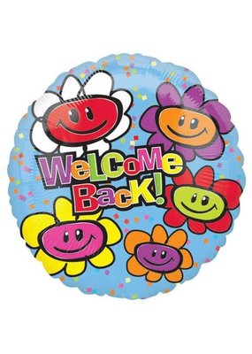 "***Welcome Back Smiley Flowers 18"" Mylar Balloon"