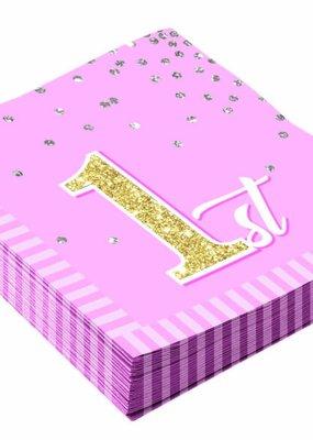 ***1st Birthday Pink Lunch Napkins