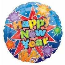 ***Happy New Year Bright Colors Mylar Balloon