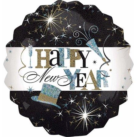 ***Jumbo Happy New Year Black Gold Mylar Balloon