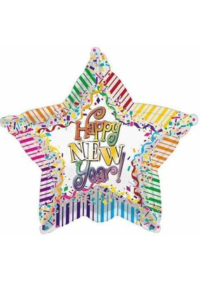 ***Happy New Year Stripes Star Mylar Balloon