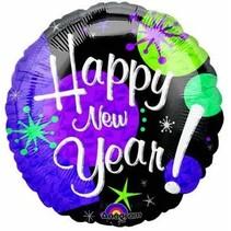 ***Purple Happy New Year Mylar Balloon
