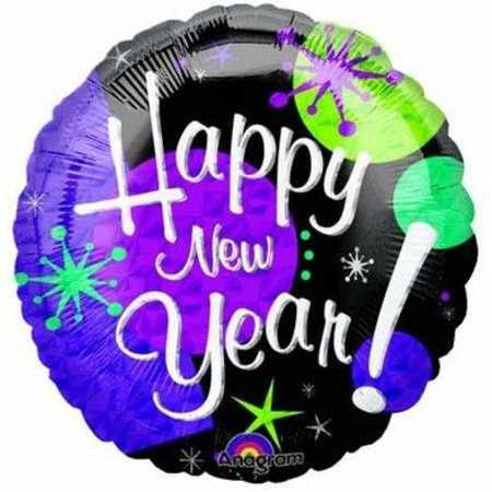 ***Purple Happy New Year Mylar Balloon