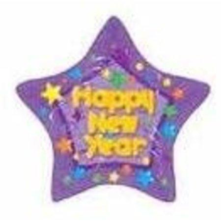 ***Purple Bubble Letter New Year Star Mylar Balloon