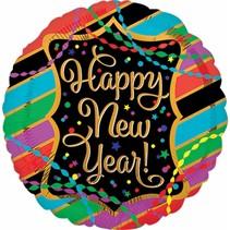 ***New Year Streamers & Stripes Mylar Balloon