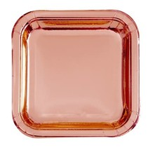 ***Foil Rose Gold 9in Square Paper Plates
