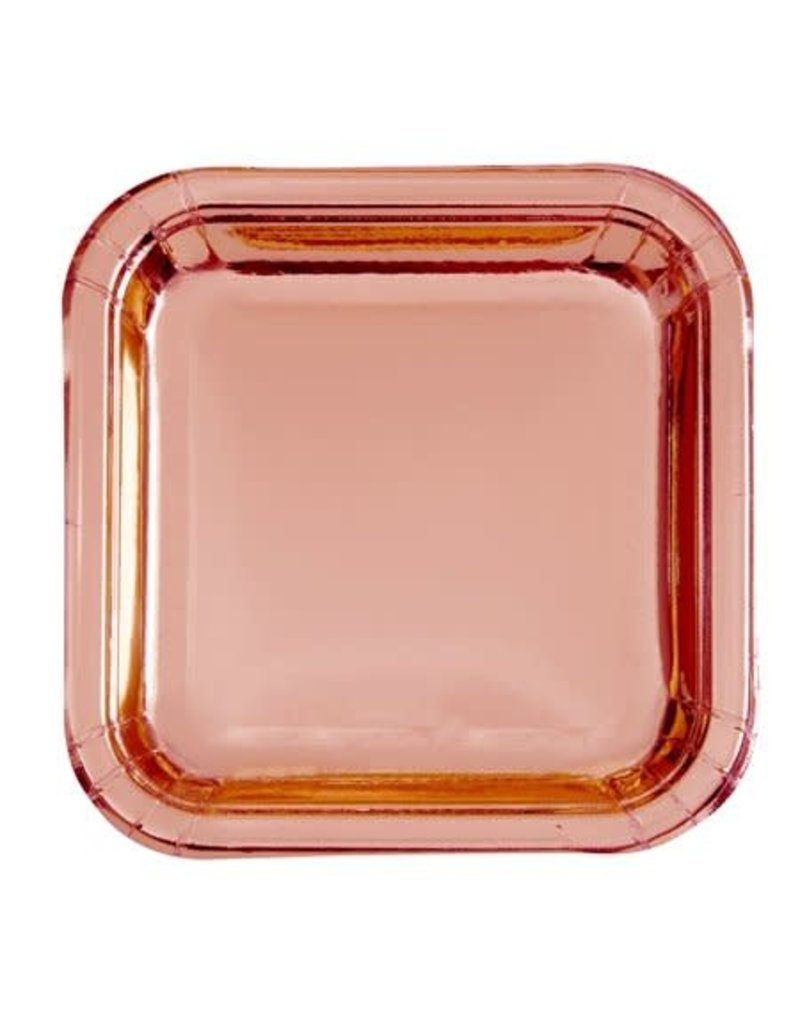 "***Foil Rose Gold 9"" Square Paper Plates 8ct"
