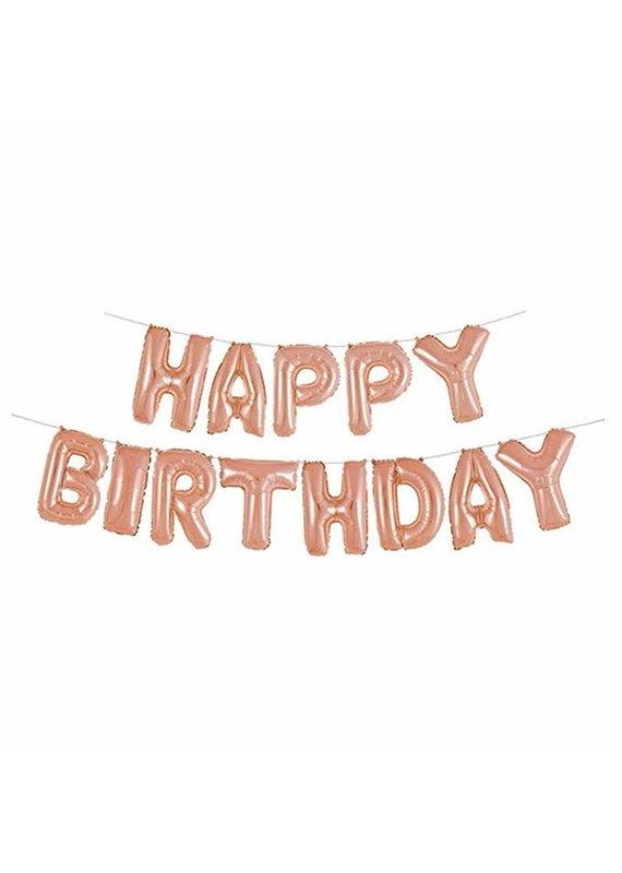 ***Foil Rose Gold Happy Birthday Balloon Banner