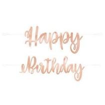 ***Rose Gold Script Happy Birthday Banner