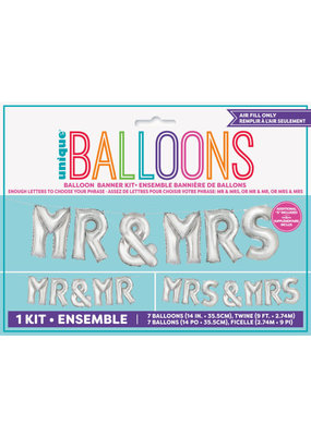 "***Mr & Mrs Balloon 14"" Letter Kit"