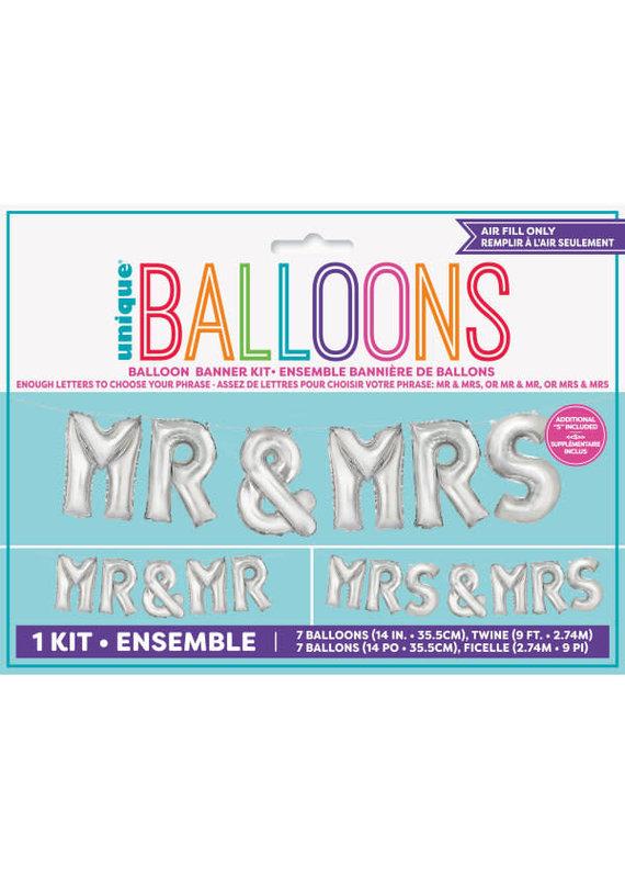 """*****Mr & Mrs Balloon 14"""" Letter Kit"""