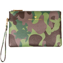 ***Leather Camo Clutch
