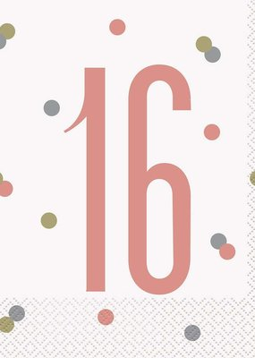 ***Rose Gold Dots 16th Lunch Napkins 16ct