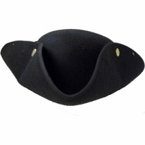 ***Black Tricorne Pirate Hat with Snaps