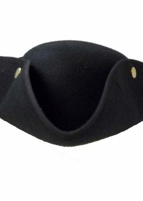 Jacobson Hat Company ***Black Tricorne Pirate Hat with Snaps