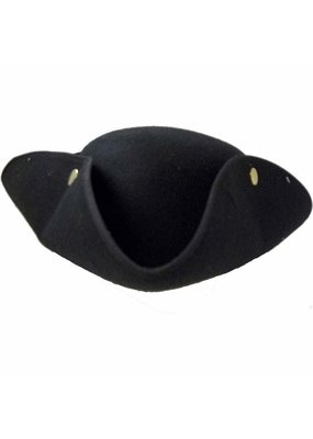 Jacobson Hat Company ****Black Tricorne Pirate Hat with Snaps