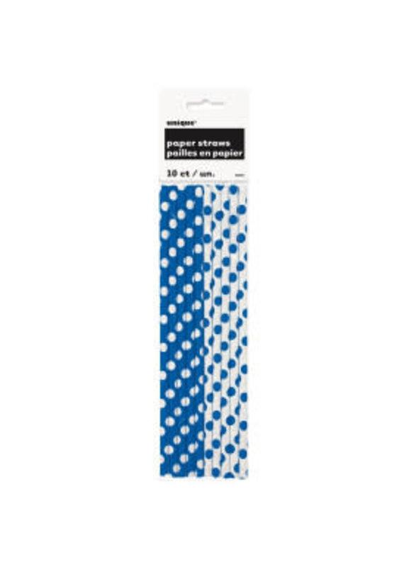 *** Royal Blue Polka Dot Paper Straws 10ct