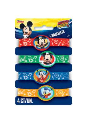 ***Mickey Mouse Roadster Racer Rubber Bracelets 4ct