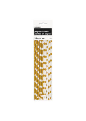 ***Gold Polka Dot Paper Straws 10ct