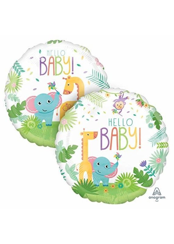 ***Hello Baby Jungle  Jumbo Mylar Balloon