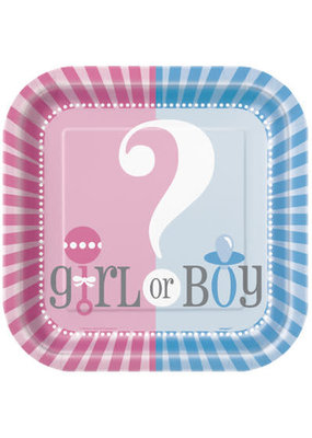 "***Gender Reveal 9"" Square Plates 8ct"