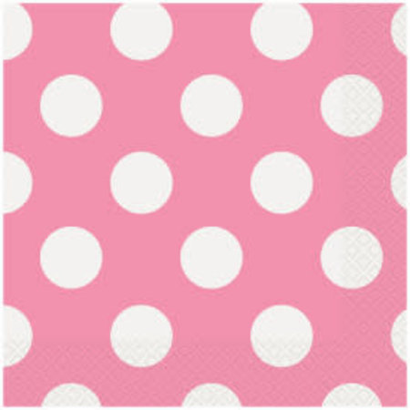 ***Pink Polka Dot Lunch Napkins 16ct