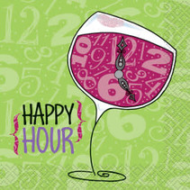 Wine Happy Hour Beverage Napkins 24ct