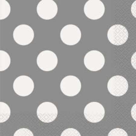 ***Silver Dot Lunch Napkins 16ct