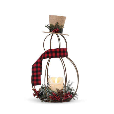 ***Lit Wire Snowman with LED Candle Figure