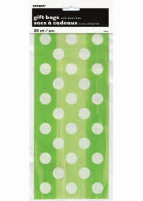 Lime Green Dot Cello Bags 20ct