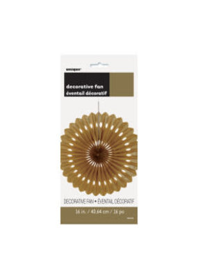 """Gold 16"""" Tissue Decorative Fan"""