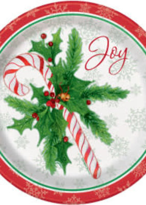"""***Candy Cane Christmas 9"""" Dinner Plates 8ct"""
