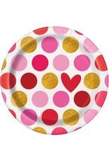 "***Gold Happy Valentine's Day 7"" Plates 8ct"