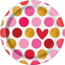 "**Gold Happy Valentine's Day 7"" Plates 8ct"