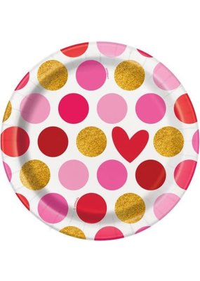"***Gold Happy Valentine's Day 7"" Plates 8ct"