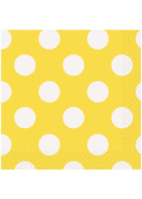 ***Yellow Polka dot Beverage Napkins 16ct