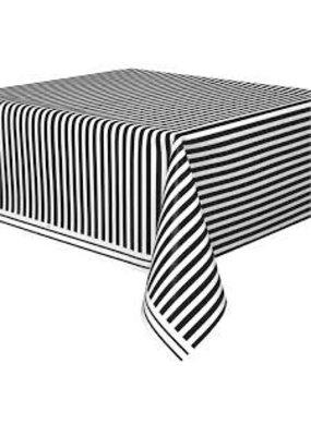 ***Black White Stripe Plastic Tablecover