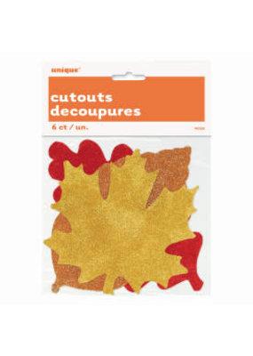 ***Glitter Fall Leaves Cutouts 6ct