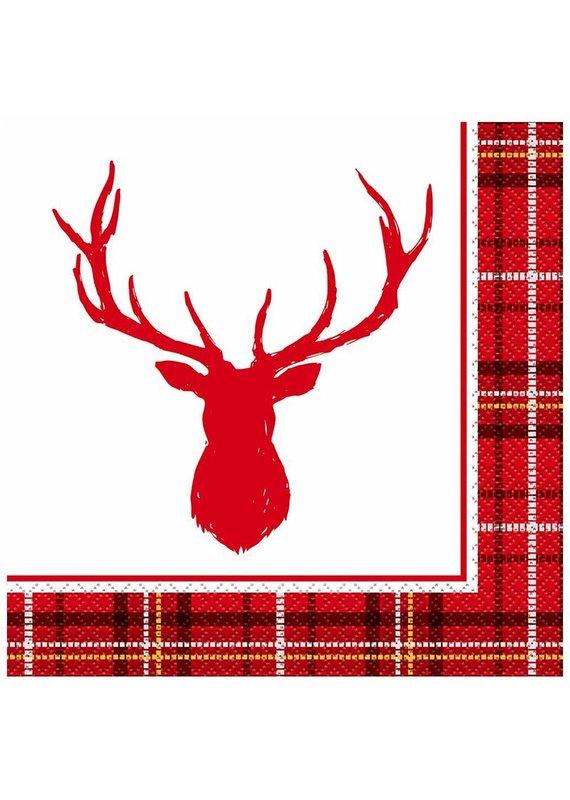 ****Plaid Deer Christmas Lunch Napkins 16ct