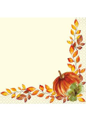 ***Watercolor Fall Pumpkins Beverage Napkins 16ct