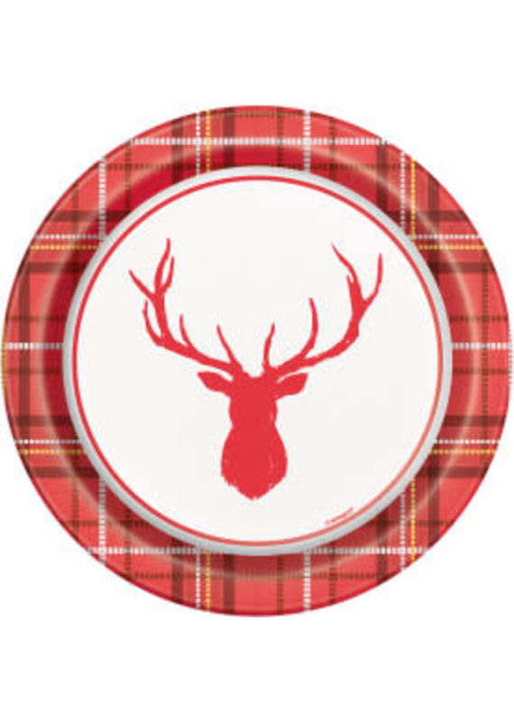 "****Plaid Deer Christmas 7"" Dessert Plates 8ct"