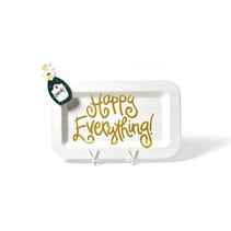 ***Happy Everything White Rectangle Platter with Champagne Mini Attachment