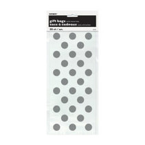 ***Silver Polka Dot Cello Bags 20ct