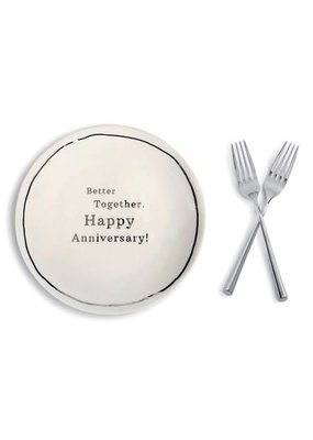 ***Anniversary Sharing Plate & Forks Set
