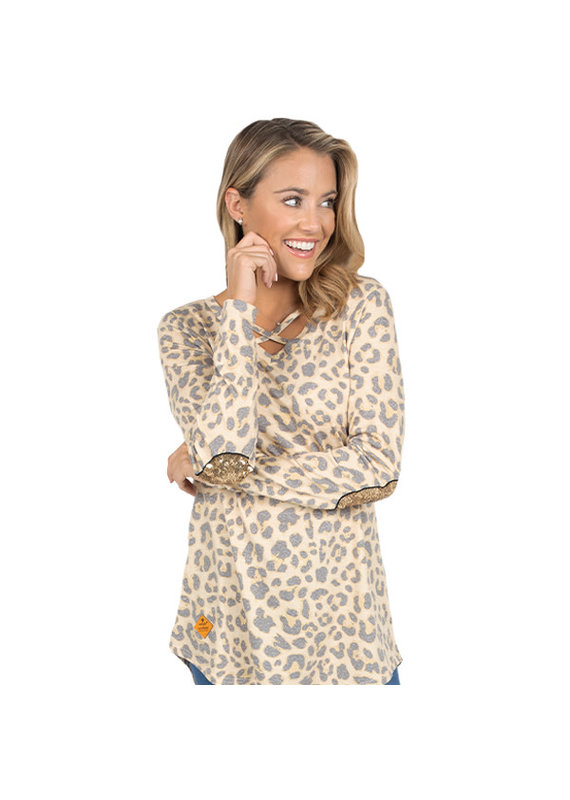 ***Simply Southern Leopard Cross Top