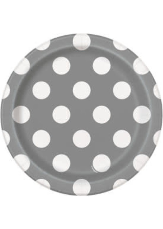 "Silver Polka Dot 7"" Dessert Plates 8ct"