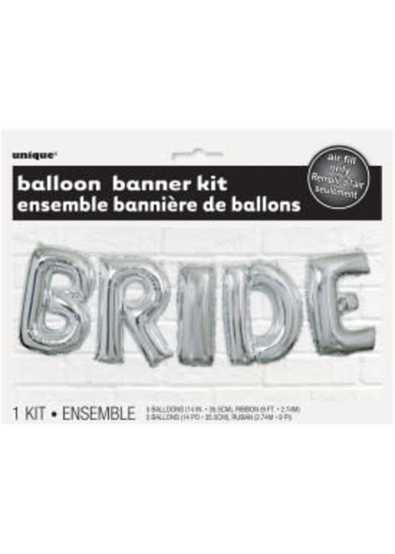"*****Bride Balloon 14"" Banner Kit Silver"