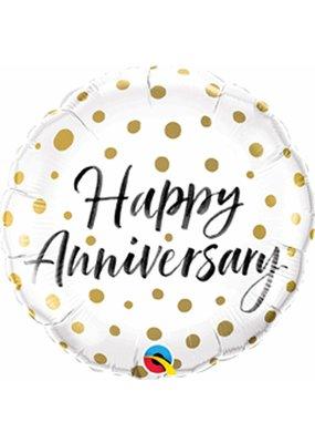 ***Anniversary Gold Dots Mylar Balloon
