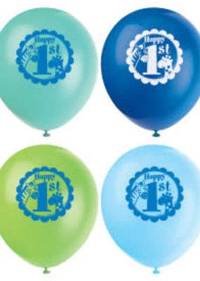 *Blue Safari 1st Birthday 8ct Latex Balloons